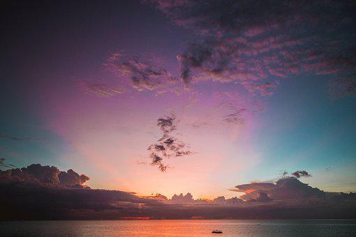 Sunset, Sea, Clouds, Ocean, Horizon, Dusk, Twilight