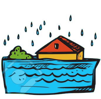 Flood, Disaster, House, Water, Natural Disaster, Icon