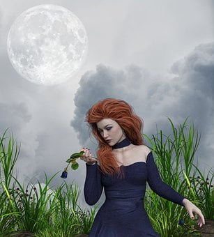 Girl, Flower, Grass, Moon, Mystic, Fantasy, Clouds, Sky