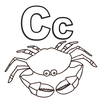 Letter, Alphabet, C, Crab, Cartoon, Coloring, Trace