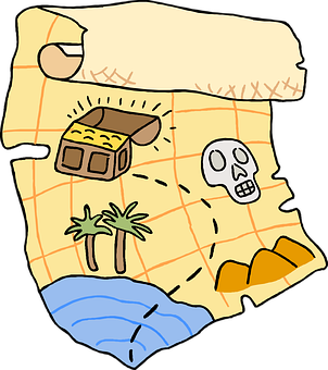 Map, Treasure, Chest, Skull, Direction, Route, Pirate
