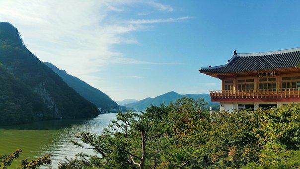 Lake, Mountains, House, Pagoda, Asia, Korea, Nature