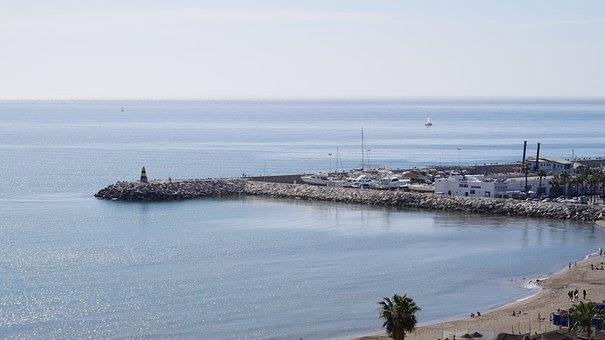 Beach, Ocean, Pier, Coast, Boat, Horizon, Sea, Sky