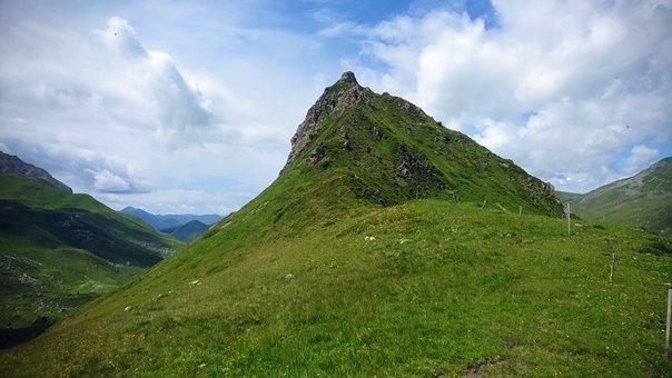 Mountain, Grass, Pasture, Nature, Landscape