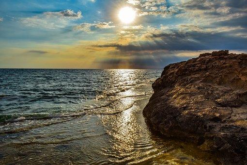 Sun, Boulder, Sea, Ocean, Sunlight, Sun Rays, Clouds