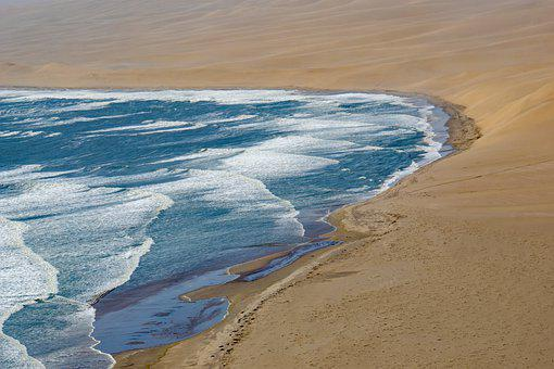 Coast, Namibia, Desert, Sand, Sea, Ocean, Shore