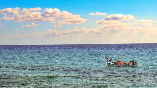 Fishing Boat, Sea, Sky, Horizon, Seascape, Ocean, Boat