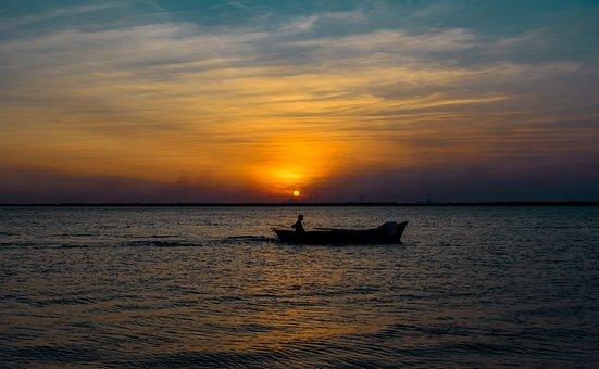Sunset, Boat, Sea, Ocean, Canoe, Rowboat, Silhouette