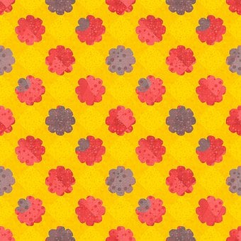 Flowers, Polka Dots, Pattern, Seamless, Background