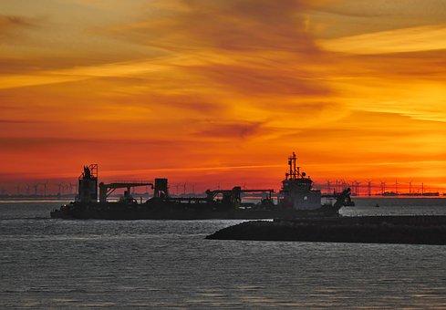 Sunrise, Port, Ship, Elbe, Suction Excavator, Windräder