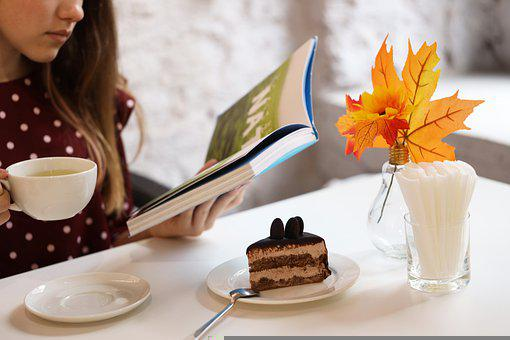 Girl, Book, Tea, Cake, Dessert, Table, Table Setting