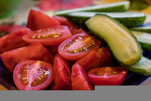Tomatoes, Cucumbers, Vegetables, Slices, Sliced