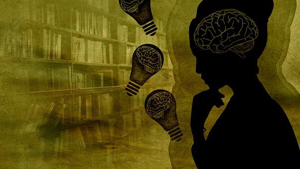 Woman, Brain, Light Bulb, Mind, Books