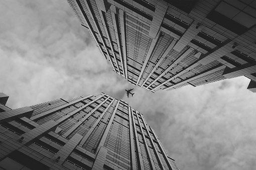 Airplane, Skyline, Buildings, Towers