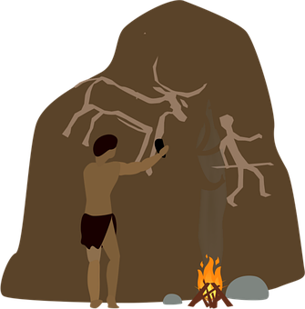 Man, Rock, Painting, Fire, Bushmen, Draw, Stone, Age