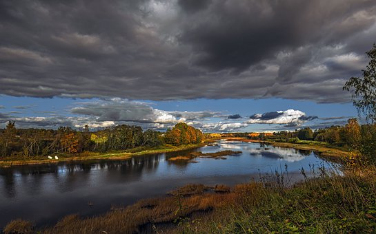 River, Banks, Clouds, Cloudy, Gloomy, Sky, Cloudy Sky