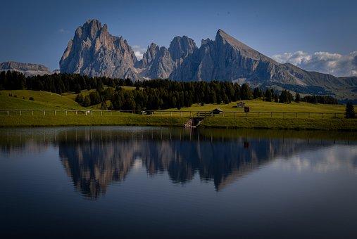 Mountains, Lake, Fields, Dolomites, Alps, Alpines