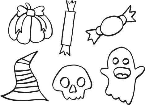 Halloween, Icons, Doodle, Outline
