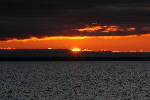 Sunrise, Clouds, Lake, Sunset, Dusk, Dawn, Sun