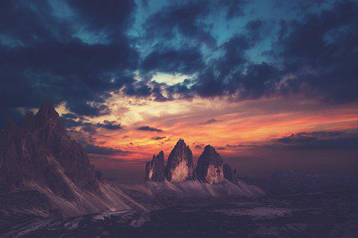 Mountains, Rock Formations, Sunset, Erosion, Badlands
