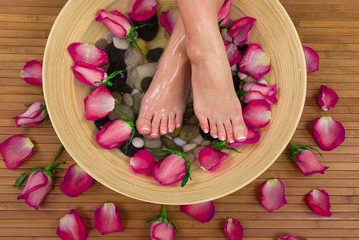 Feet, Basin, Foot Spa, Flowers, Roses, Petals