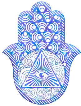 Hamsa, Eye, Hand, Watercolor, Metaphysical, Henna, Zen