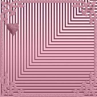 Heart, Stripes, Frame, Border, Digital Paper, Pink