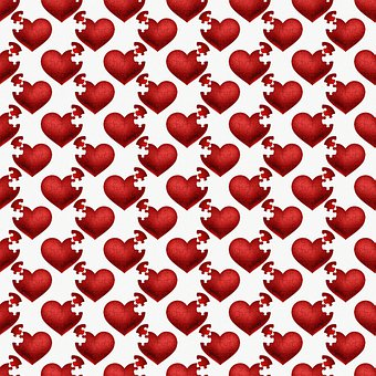 Hearts, Puzzle Pieces, Pattern, Paper, Greeting