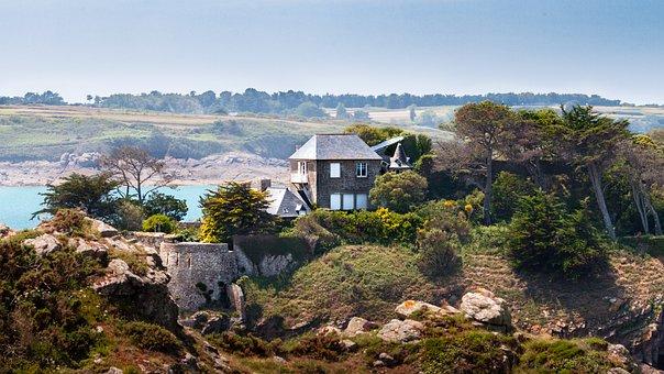 House, Coast, Landscape, France, Brittany