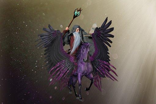 Man, Wizard, Horse, Wings, Magician, Magic, Light