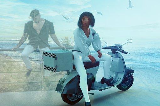Fantasy, Woman, Motorbike, Motorcycle, Man