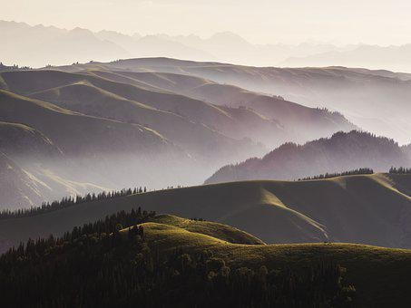 Mountains, Hills, Mountain Range, Fog, Haze, Mist