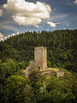Castle, Trees, Woods, Woodlands, Mountains, Tower