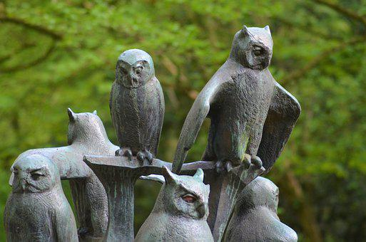Owls, Birds, Sculpture, Stone, Tree, Hammer Park
