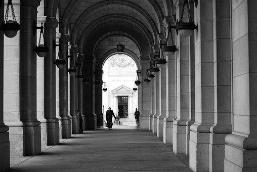 Pillars, Arches, Pathway, Walkway, Corridor, Arcade