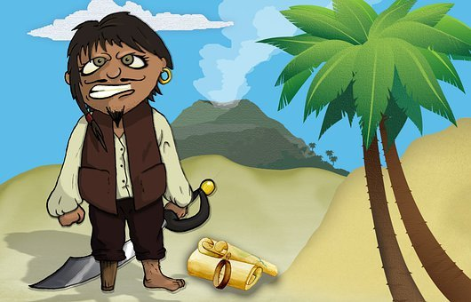 Pirate, Volcano, Palm Tree, Island, Beach, Sword