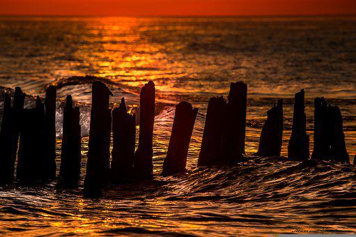 Sea, Sea Breakers, Silhouette, Sunset, Dusk