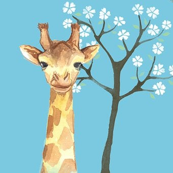 Giraffe, Tree, Flowers, Tall, Animal, Cute, Cartoon