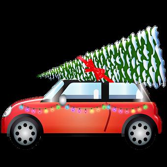 Car, Treemsnow, Light, Christmas