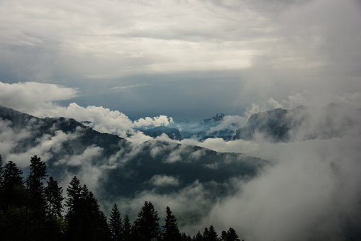 Trees, Mountains, Clouds, Conifers