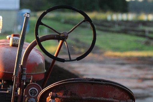 Tractor, Farm, Sunset, Landscape, Agriculture, Harvest