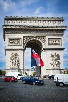 Arc De Triomphe, Paris, Flag, Patriotism, France