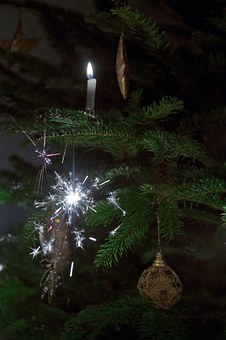 Sparklers, Christmas Tree, Candles, Baubles