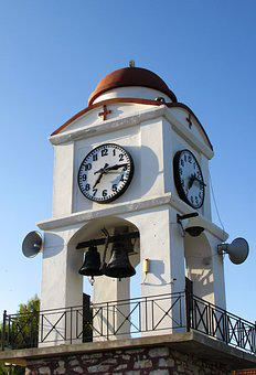 Greece, Skiathos, Belfry, Clock, Church, Architecture