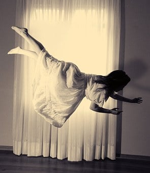 Flying, Woman, Obscure, Black And White, Creative