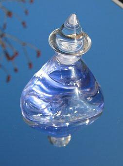 Bottle, Blue, Perfume, Reflecting