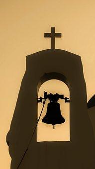 Sunset, Church, Bell, Belfry, Summer, Shadows, Cyprus
