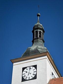 Church, Tower, Belfry, Clock, God, Time, Steeple