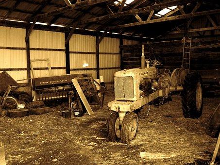 Tractor, Barn, Farm, Equipment, Vintage, Rural