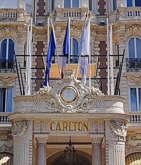 Cannes, Hotel Entrance, Palatial, Flags